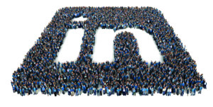 LinkedIn logo formed by a crowd of people